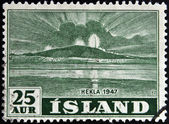 ICELAND - CIRCA 1947: A stamp printed in Iceland shows Hekla, circa 1947 — Stock Photo