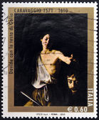 ITALY - CIRCA 2010: A stamp printed in Italy shows David with the Head of Goliath by Caravaggio, circa 2010 — Stock Photo