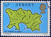JERSEY - CIRCA 1976: A stamp printed in Jersey shows map of the parishes of Jersey, circa 1976 — Stock Photo