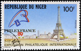 NIGER - CIRCA 1989: A stamp printed in Niger dedicated to International Philatelic Exhibition in Paris, circa 1989 — 图库照片