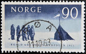 NORWAY - CIRCA 1961: A stamp printed in Norway shows The arrival at the South Pole by Amundsen and his colleagues (1911), circa 1961 — Stock Photo