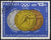 PANAMA - CIRCA 1968: Stamp printed in Panama tribute to the winners of the Olympic Winter Games Grenoble, circa 1968 — Stock Photo