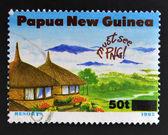 PAPUA NEW GUINEA - CIRCA 1995: A stamp printed in Papua dedicated to tourism shows resorts, circa 1995 — Stock Photo