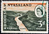 RHODESIA AND NYASALAND - CIRCA 1955: A stamp printed in Rhodesia shows Kariba, the gorge and Queen Elizabeth II, circa 1955 — Stock Photo