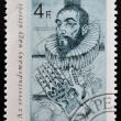 Stock Photo: HUNGARY - CIRC1987: stamp printed in Hungary, shows portrait of Ambroise Pare (improved treatment of wounds), 1510 - 1590, circ1987