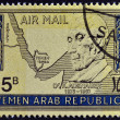 YEMEN ARAB REPUBLIC - CIRCA 1968 : a stamp printed inYemen shows Konrad Adenauer, German Politician, Chancellor of West Germany from 1949 until 1963, circa 1968 — Stock Photo