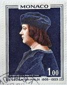 Monaco - circa 1967: eine briefmarke gedruckt in monaco zeigt lucien, herr von monaco von ambrogio de predis, ca. 1967 — Stockfoto
