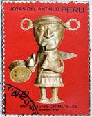 PERU - CIRCA 1972: A stamp printed in Peru dedicated to jewels of ancient Peru, shows Auric little idol Chimu, circa 1972 — Stock Photo