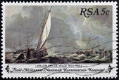 SOUTH AFRICA - CIRCA 1980: A stamp Printed in South Africa shows Sail Boats on Stormy Sea Painting, dedicated to the painter Willem van de Velde, circa 1980 — Stock Photo