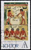 GERMANY - CIRCA 1972: A stamp printed in the East Germany shows Egyptian Museum Berlin - fowling scene, Egypt, around 2400 BCE, circa 1972. — Stock Photo
