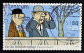 "GERMANY - CIRCA 2011: A stamp printed in Germany shows a fragment of the Sketch comedy Loriot ""Auf der Rennbahn"", circa 2011 — Stock Photo"