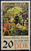 GERMANY - CIRCA 1989: a stamp printed in GDR shows Battle Scene, Detail of the Painting Early Bourgeois Revolution in Germany in 1525 by Werner Tubke, circa 1989 — Stock Photo