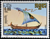 CAMBODIA - CIRCA 1986: A stamp printed in Cambodia shows Nile barge, circa 1986 — Foto de Stock