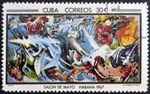 CUBA - CIRCA 1968: Stamp printed in Cuba commemorative to May Salon, 1967, shows Warriors by E. Pignon, circa 1968 — Stock Photo