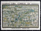 CUBA - CIRCA 1968: Stamp printed in Cuba commemorative to May Salon, 1967, shows Painting by Vieira de Silva, circa 1968 — Стоковое фото