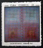 CUBA - CIRCA 1968: Stamp printed in Cuba commemorative to May Salon, 1967, shows EG 12. by V. Vasarely, circa 1968 — Stock Photo