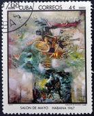 古巴-大约 1968年: 邮票印在古巴纪念对日沙龙,1967 年,由马塔,大约在 1968年展示撒种的火灾 — 图库照片