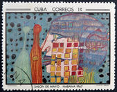 CUBA - CIRCA 1968: Stamp printed in Cuba commemorative to May Salon, 1967, shows Night of the Drinker by F. Hunderwasser, circa 1968 — Stock Photo