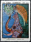 CUBA - CIRCA 1968: Stamp printed in Cuba commemorative to May Salon, 1967, shows Figure by W. Svanberg, circa 1968 — Stock Photo