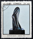 CUBA - CIRCA 1968: Stamp printed in Cuba commemorative to May Salon, 1967, shows torso muse by Jean Arp, circa 1968 — Stock Photo