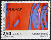 FRANCE - CIRCA 1993: a stamp printed in France shows Rouge Rythme Bleu, Painting by Olivier Debre, circa 1993 — Stock Photo