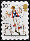 UNITED KINGDOM - CIRCA 1976: A stamp printed in Great Britain dedicated to British Cultural Traditions shows Morris dancing, circa 1976. — Stock Photo