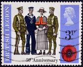 UNITED KINGDOM - CIRCA 1971: A stamp printed in Great Britain dedicated to 50 anniversary of british legion, circa 1971 — Stock Photo