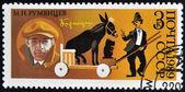 USSR- CIRCA 1989: A stamp printed in USSR dedicated to Mikhail Rumyantsev, the Russian clown Karandash, circa 1989. — Stock Photo