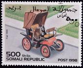 SOMALIA - CIRCA 1998: stamp printed in Somali republic shows retro car, Fiat 1899, circa 1998. — Foto de Stock