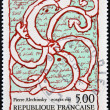 FRANCE - CIRCA 1985: a stamp printed in France shows Octopus Overlaid on Manuscript, Painting by Pierre Alechinsky, circa 1985 — Foto de Stock
