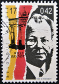 BELGIUM - CIRCA 1999: a stamp printed in Belgium shows an image of Willy Brandt, circa 1999. — Stock Photo