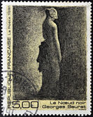 FRANCE - CIRCA 1991: A stamp printed in France shows black node by Georges Seurat, circa 1991 — Stock Photo