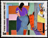 FRANCE - CIRCA 1986: A stamp printed in France shows Virginia by Alberto Magnelli, circa 1986 — Stock fotografie