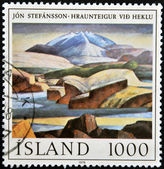 Islandia - alrededor de 1978: un sello impreso en islandia muestra de pintura de jon stefansson, alrededor de 1978 — Foto de Stock