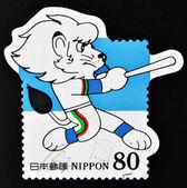 JAPAN - CIRCA 1999: A stamp printed in Japan shows symbol of the Seibu Lions baseball, circa 1999 — Stock fotografie