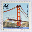 UNITED STATES OF AMERICA - CIRCA 1998: a stamp printed in USA showing an image of a the Golden Gate bridge construction, 1998. — Stock Photo