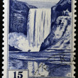ICELAND - CIRCA 1956: A stamp printed in Iceland shows Skogafoss, circa 1956 — Stock Photo