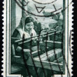 "ITALY - CIRC1950: stamp printed in Italy from ""Provincial Occupations"" issue shows Weaver (Calabria), circ1950. — Stockfoto #40001377"