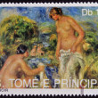 Stock Photo: SAO TOME AND PRINCIPE - CIRC1990: stamp printed in Sao tome shows Bathers by Renoir, circ1990
