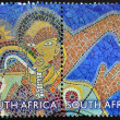 SOUTH AFRIC- CIRC2012: stamp printed in RSshows mural on faculty of health sciences, University of Cape Town, circ2012 — Stock Photo #40001911