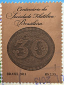 BRAZIL - CIRCA 2011: A stamp printed in Brazil dedicated to centenary of Brazilian Philatelic Society, circa 2011 — 图库照片