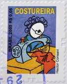 BRAZIL - CIRCA 2005: A stamp printed in Brazil shows a seamstress by Hector Consani, circa 2005 — Stock Photo