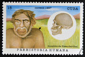 CUBA - CIRCA 1997: A stamp printed in Cuba dedicated to human prehistory shows Neanderthal man, circa 1997 — Stock Photo