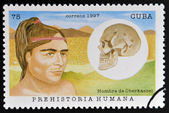 CUBA - CIRCA 1997: A stamp printed in Cuba dedicated to human prehistory shows man Oberkassel, circa 1997 — Stock Photo