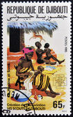 DJIBOUTI - CIRCA 1985: A stamp printed in Djibouti dedicated to the hygiene and children, circa 1985 — Stock Photo