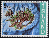 ICELAND - CIRCA 1972: A stamp printed in Iceland shows contour map and continental shelf, circa 1972. — Stock Photo