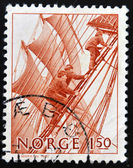 NORWAY - CIRCA 1981: a stamp printed in Norway shows Climbing rigging on sailboat, circa 1981 — Stock Photo