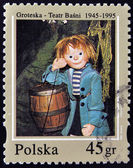 """POLAND - CIRCA 1995: A stamp printed in Poland dedicated to 50th anniversary of the fairy tale theatre """"Groteska"""", shows Tomcio Paluszek by Thomas Littlefinger, circa 1995 — Stock Photo"""
