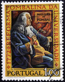 PORTUGAL - CIRCA 1972: a stamp printed in Portugal shows Marquis of Pombal, Bicentenary of the Pombaline Reforms of University of Coimbra, circa 1972 — Stockfoto