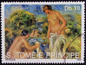 SAO TOME AND PRINCIPE - CIRCA 1990: A stamp printed in Sao tome shows The Bathers by Renoir, circa 1990 — Stock Photo